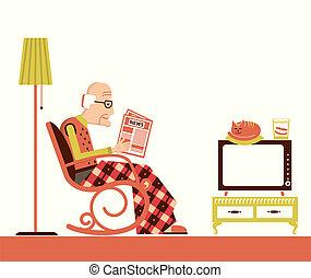 journal, vieux, séance, lecture, homme
