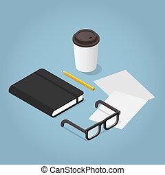 journaling, isométrique, concept, illustration
