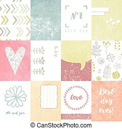 journaling, set, heart., doodle, model, kaarten, vector, floral, plakboek, ontwerp