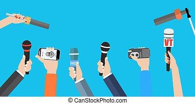 Set of hands holding microphones. - Journalism concept . Set...
