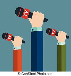 Journalism concept vector illustration in flat style. Set of hands holding microphones