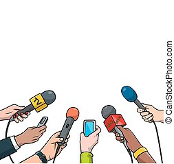 Journalism concept vector illustration in pop art comic style. Set of hands holding microphones and voice recorders. Hot news template, isolated on white background.
