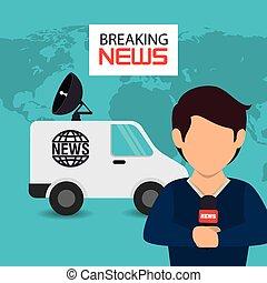 Journalism design over blue background, vector illustration.