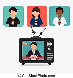 Journalism design over white background, vector illustration.