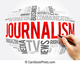 Journalism word cloud collage , social concept