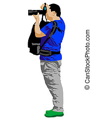 Journalist and camera - Vector drawing man with a camera