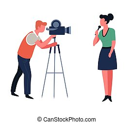 Journalist and cameraman TV show or news program shooting or filming