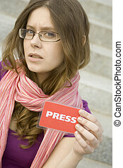 Journalist  - Beautiful woman journalist with a PRESS card