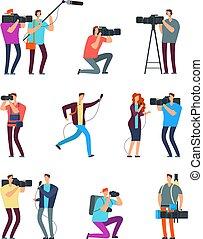 Journalist cameraman. People make tv broadcast....