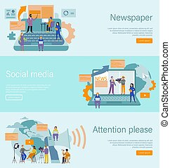 Journalist concept. Mass media profession, internet and ...