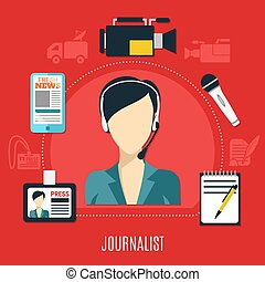 Journalist Design Concept - Journalist design concept with...