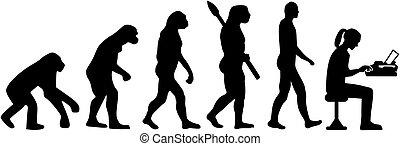 Journalist evolution typewriter female - Evolution of a...