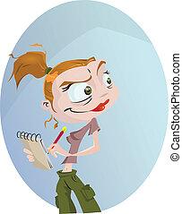 Journalist - A cartoon journalist getting the scoop....
