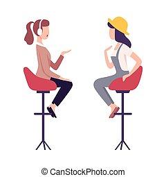 Journalist in Headphones Interviewing Female Celebrity, Two ...