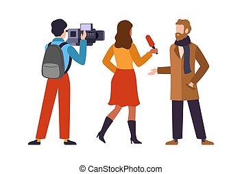 Journalist interviews celebrity. Newscaster and journalist ...