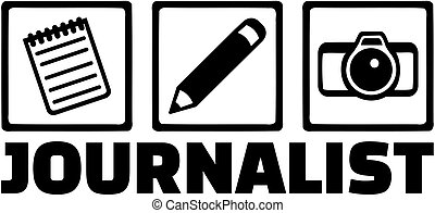 Journalist job icons - Icons for journalist with notepad,...