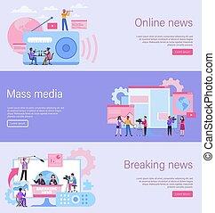 Journalist landing page. Online news banner, mass media ...