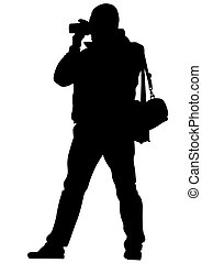 Journalist - Man with a photo camera on white background