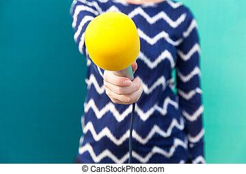 journalist., media, microphone., interview.