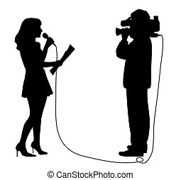 Journalist news reporter anchor woman and cameraman making reportage