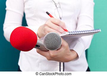 journalist., nieuws, conference.
