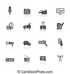 Journalist reporter icons set - Press news broadcasting...