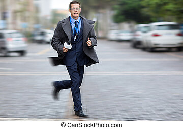 journalist rushing on city streets for breaking news