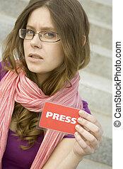 Journalist  - Beautiful woman journalist with a PRESS card