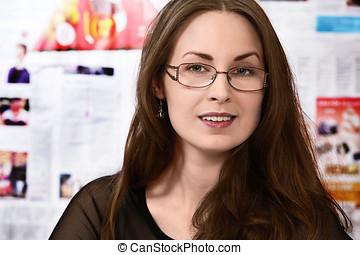 Journalist - Pretty journalist or newsroom woman in busy...