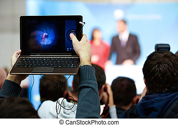 Journalist taking photo and video - Journalist taking photo...