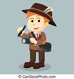 journalist with camera cartoon illustration