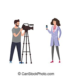Journalist woman reporter presenting live news talk with man operator cameramen using video camera on tripod movie making concept. Vector illustration in flat cartoon style