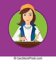 journaliste, écriture, cahier, pencil.