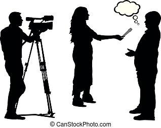 journaliste, cameraman, entrevue, silhouette