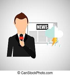 journaliste, prévision, temps, conception, journal, homme