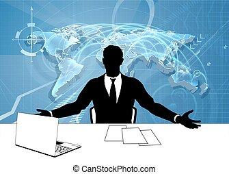 journaliste, silhouette, tv, ancre, nouvelles, présentateur