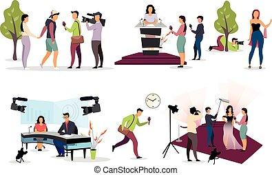 journalistes, interviewer, dessin animé, journaliste, photographe, journalisme, paparazzi, appareil-photo., set., presse, characters., microphone, cameraman, videographer, plat, interviewers, illustration, vecteur