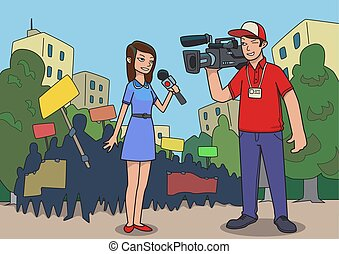 Journalists are reporting from a street protest. Breaking...