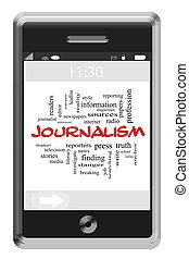 journalsim, слово, облако, концепция, на, сенсорный экран, телефон