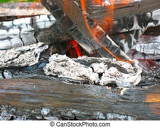 journaux bord, brûlé, tirez bois, closeup, cendre