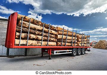 journaux bord, camions, livraison, attente, bois, chargé