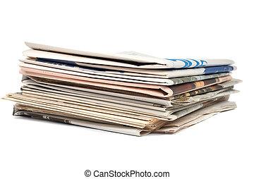 journaux, local, pile