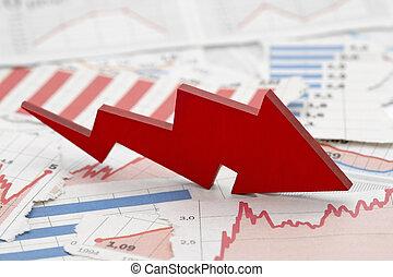 journaux, rouges, tomber, flèche, concept financier, diagrammes, crise