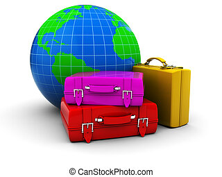 journey - abstract 3d illustration of luggage cases and ...