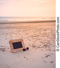 journey concept image of chalkboard and sandglass For creative idea.