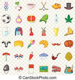 Journey icons set, cartoon style