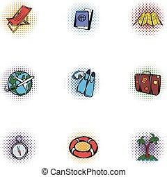 Journey icons set, pop-art style