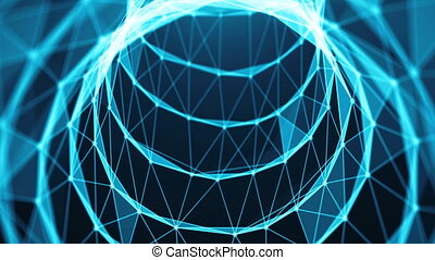 Journey in data tunnel. Speed motion inside fibre optic cable. Abstract background