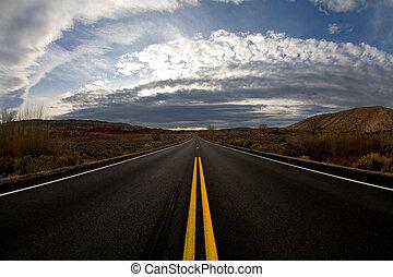 journey into dusk - highway landscape at dusk