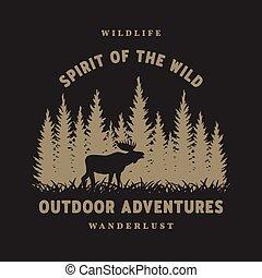 Journey into the wild. Badge, t-shirt design on a dark background.